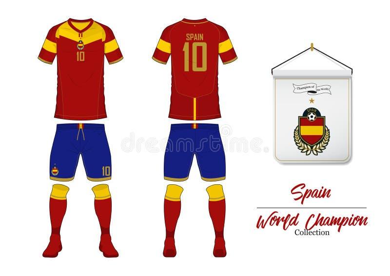 Fotbollärmlös tröja eller fotbollsats Spanien fotbolllandslag Fotbolllogo med husflaggan Främre och bakre siktsfotbolllikformig stock illustrationer