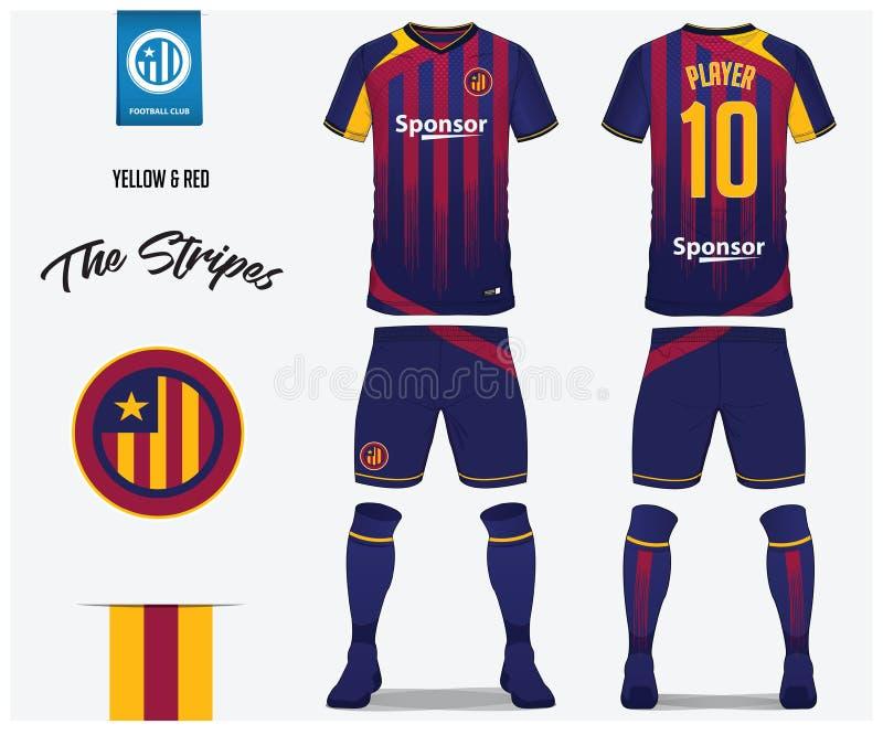 Fotbollärmlös tröja eller fotbollsatsmall för fotbollklubba Fotbollskjortan för det röda och blåa bandet med socka- och blåttkort vektor illustrationer