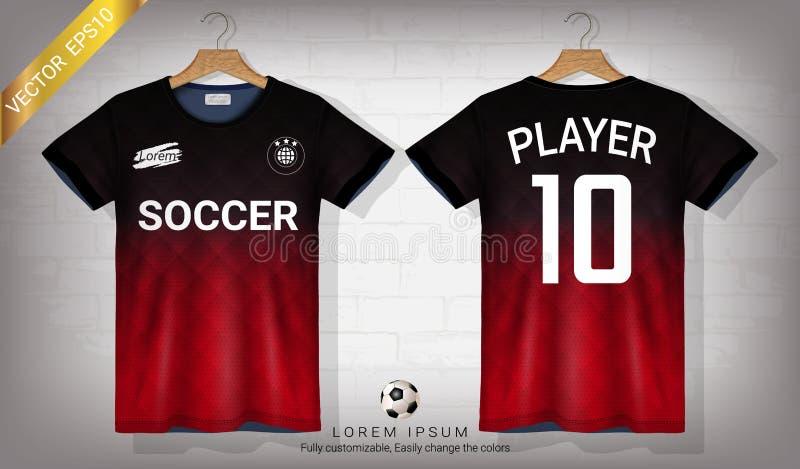 Fotbollärmlös tröja och mall för t-skjorta sportmodell, grafisk design för fotbollsats eller activewearlikformig vektor illustrationer
