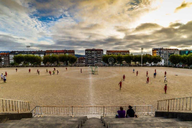 Fotbollövning i Vigo - Spanien royaltyfria bilder