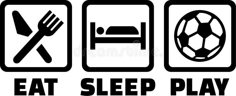 Fotboll äter sömnlek stock illustrationer