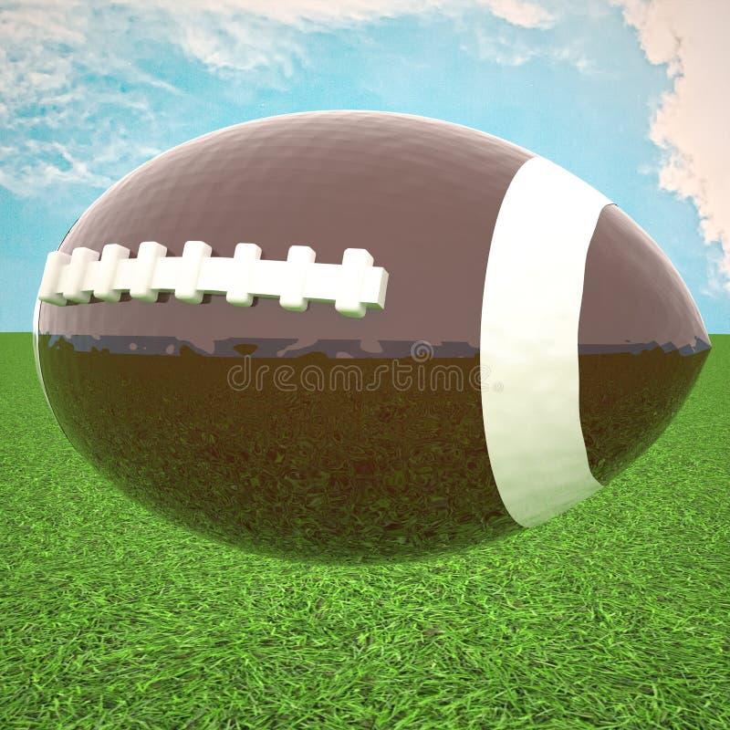 Fotboll över grönt gräs, under blå himmel arkivbild