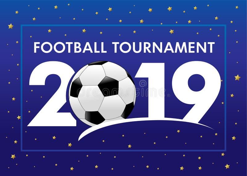 Fotboll 2019, bakgrund för världsmästerskapblått vektor illustrationer