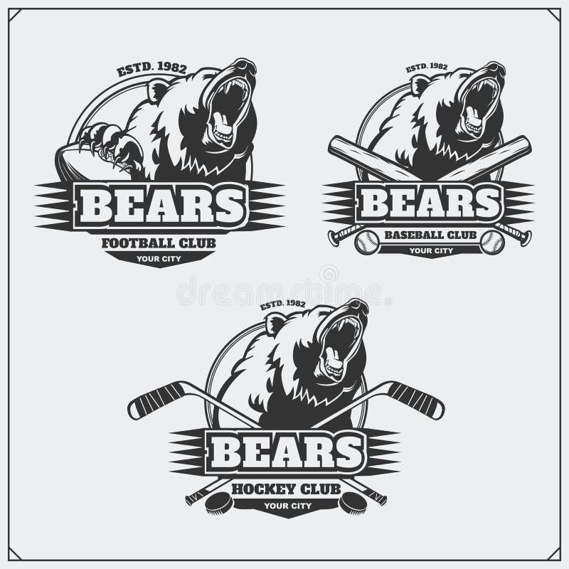 Fotboll, baseball och hockeylogoer och etiketter Emblem för sportklubba med huvudet av björnen royaltyfri illustrationer