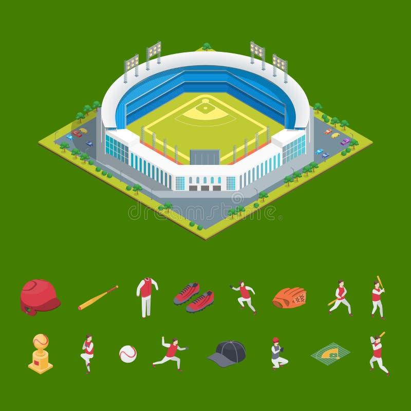 Fotboll eller baseball parkerar eller den isometriska sikten för stadion och för beståndsdelbegrepp 3d vektor stock illustrationer