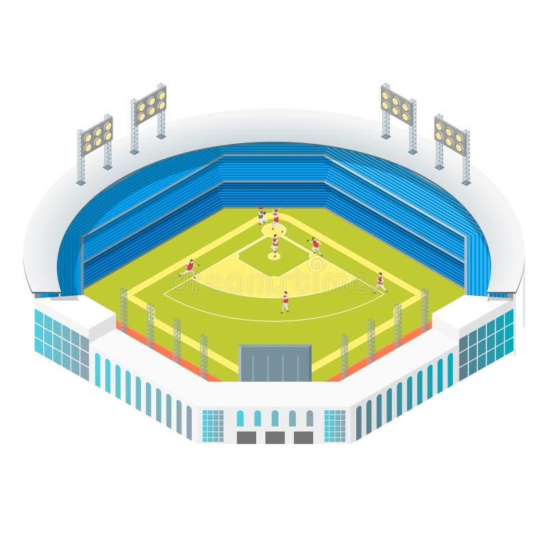 Fotboll eller baseball parkerar eller den isometriska sikten f?r stadionbegrepp 3d vektor vektor illustrationer