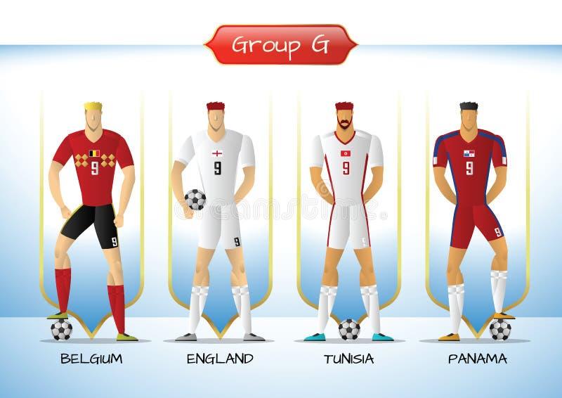 Fotboll 2018 eller enhetligt gruppG för fotbollslag stock illustrationer