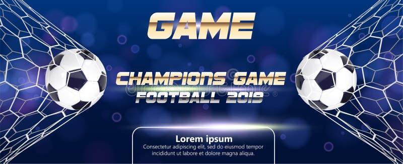 Fotboll- eller fotbollbaner med bollen 3d på blå bakgrund Ögonblick för mål för match för fotbolllek med bollen i det netto och s stock illustrationer