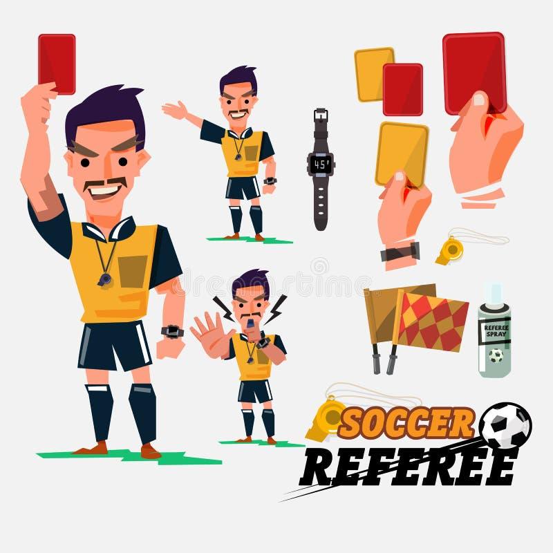 Fotboll- eller fotbolldomare med kort- och diagramelments charac stock illustrationer