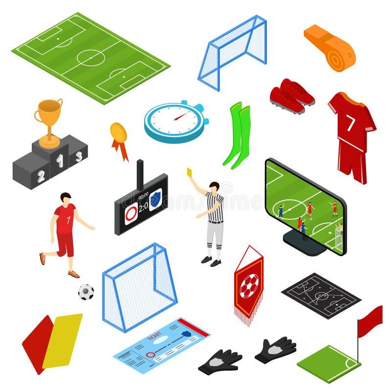 Fotboll- eller fotbollleksymboler ställde in isometrisk sikt vektor stock illustrationer