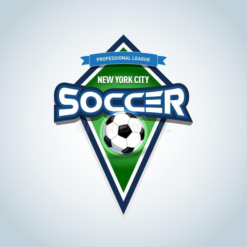 Fotboll- eller fotbolllogomall Fotbollemblem, logotypmall, t-skjorta dräktdesign fotboll för burning exponeringsglas för aquaboll royaltyfri illustrationer