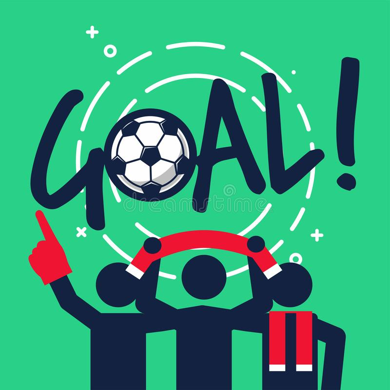 Fotboll eller fotbollsfan firar med målet vektor illustrationer