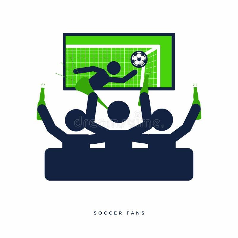 Fotboll eller fotbollsfan med ölflaskan som håller ögonen på levande fotboll på TV och jubel för deras lag på soffan royaltyfri illustrationer
