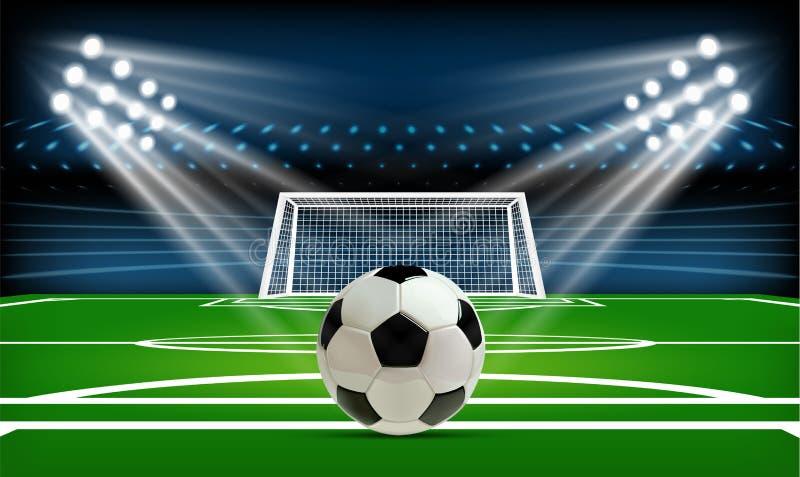 Fotboll- eller fotbollspelplan med bollen modig sport Fotbollsarenastrålkastare och funktionskortbakgrund med vektor illustrationer