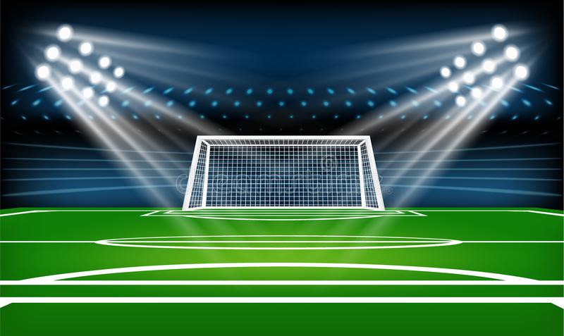 Fotboll- eller fotbollspelplan modig sport Fotbollsarenastrålkastaren och funktionskortbakgrund med blänker ljus vektor illustrationer