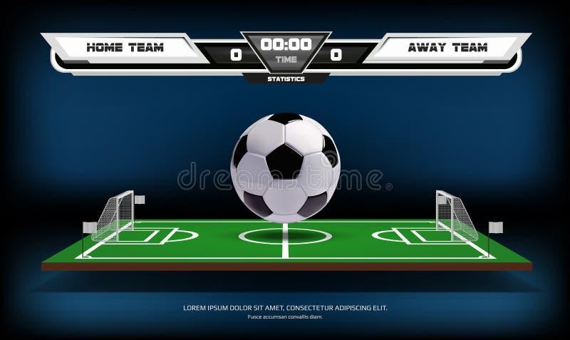 Fotboll- eller fotbollspelplanen med infographic beståndsdelar och 3d klumpa ihop sig modig sport Fotbollsarenastrålkastare och arkivfoton