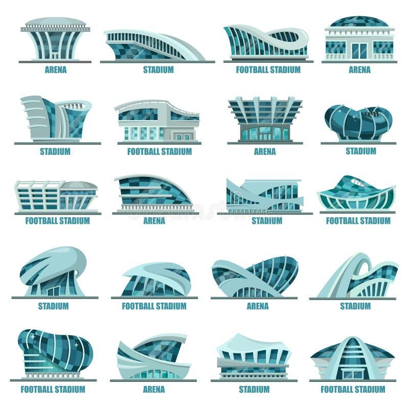 Fotboll- eller fotbollstadion eller idrotts- arenor stock illustrationer