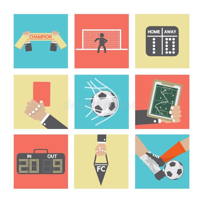 Fotboll- eller fotbollsymbolsuppsättning stock illustrationer