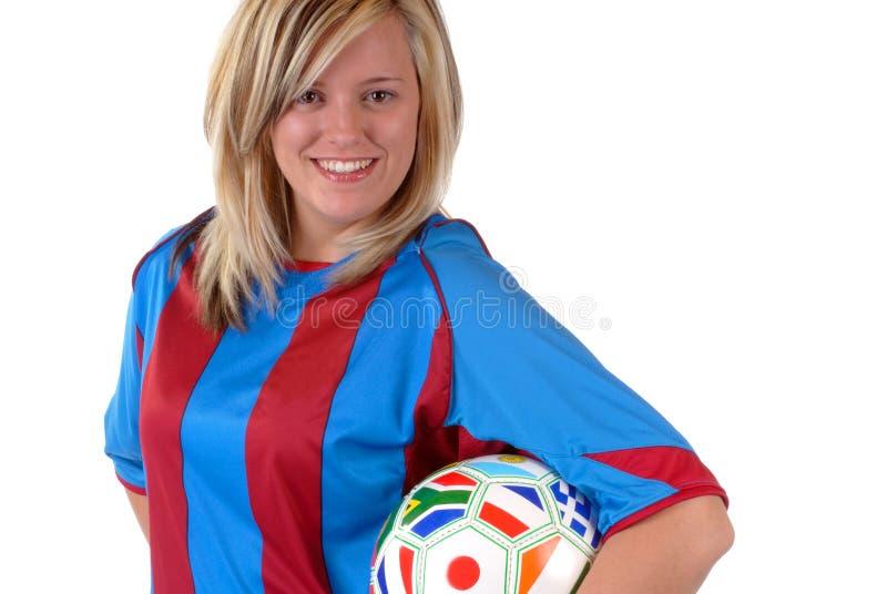 fotboll för 3 flicka arkivfoton