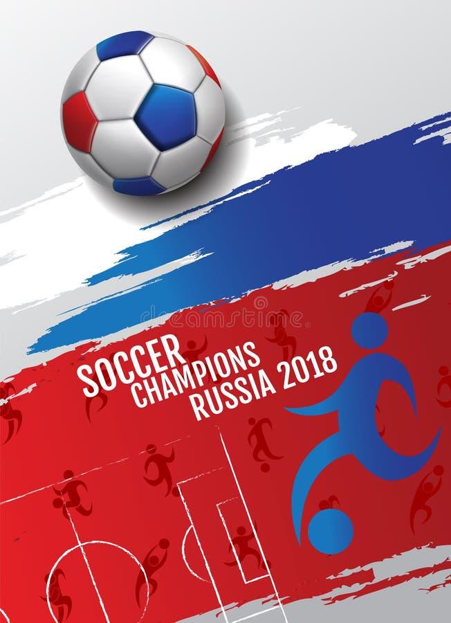 Fotboll för bakgrund för fotbollmästerskapkopp, 2018, Ryssland, vect royaltyfri illustrationer
