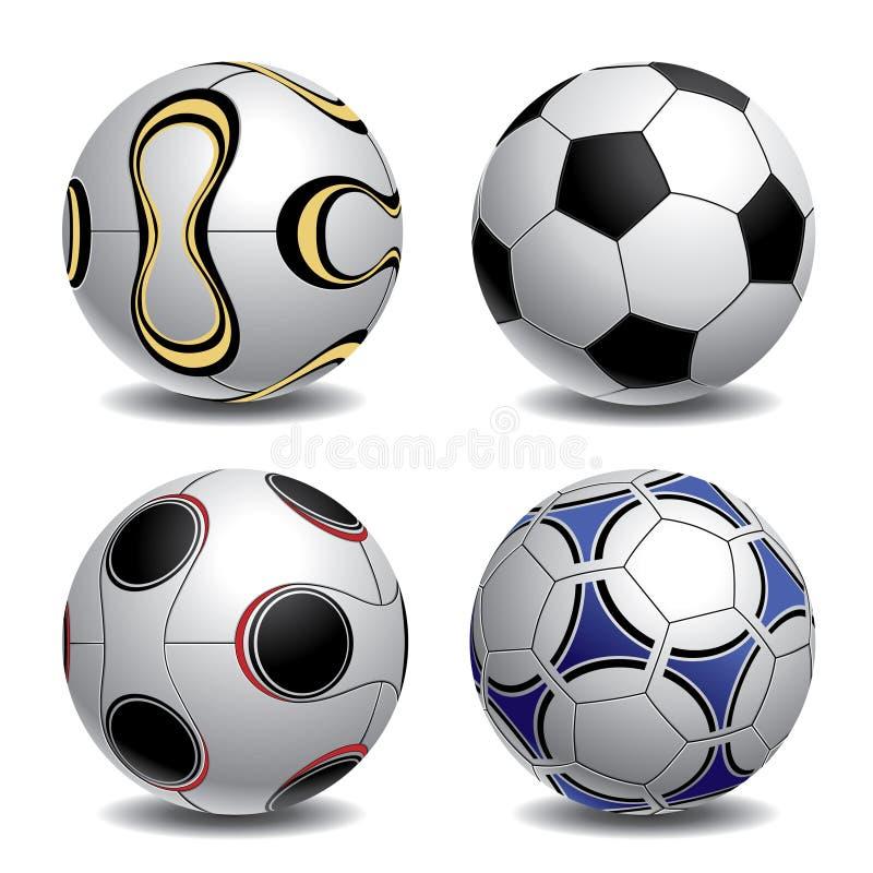 fotboll för bollar 3d royaltyfri illustrationer