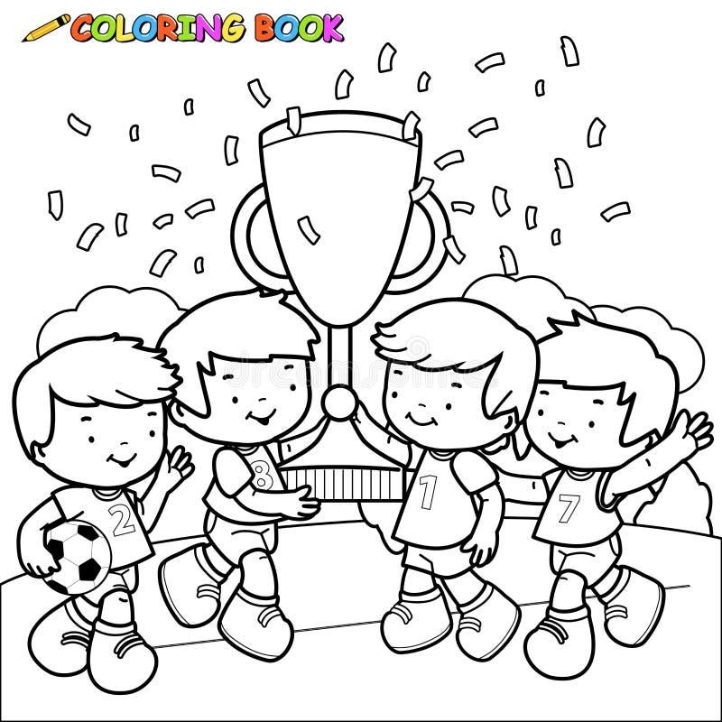 Fotboll för färgläggningbok lurar vinnare royaltyfri illustrationer