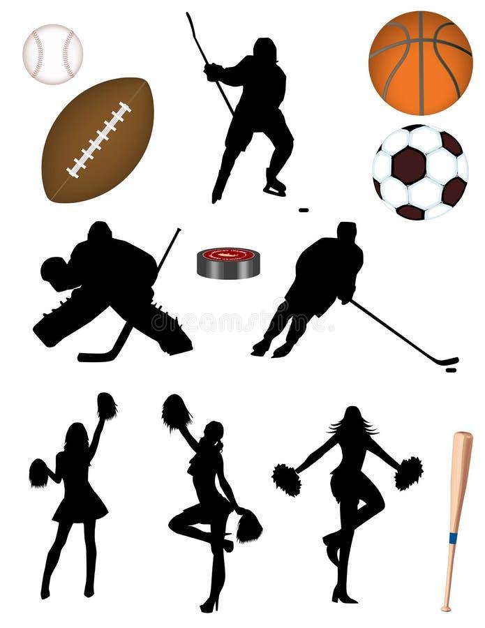 fotboll för hockey för baseballbasketfotboll vektor illustrationer