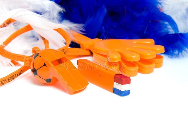 fotboll för orange för tillbehörholländarelek arkivbilder