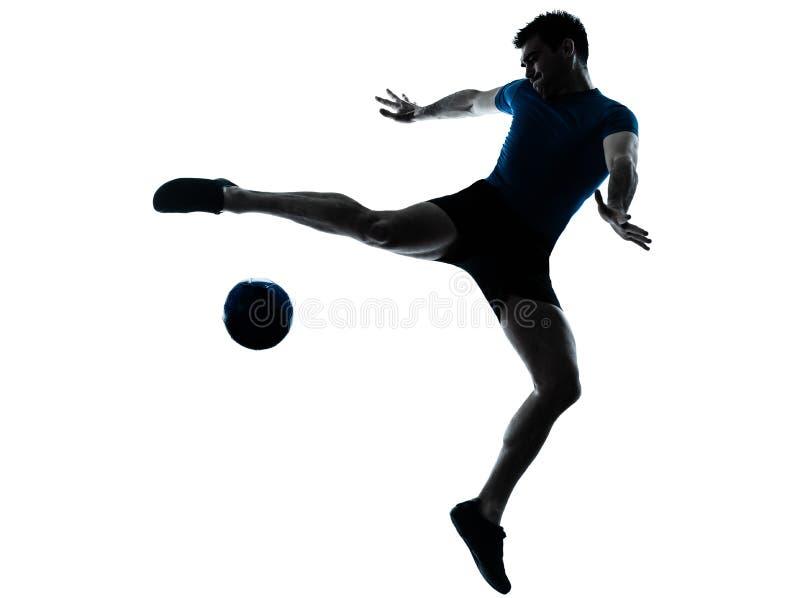 fotboll för spelare för man för flygfotboll stöd royaltyfria bilder