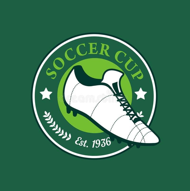 Fotboll för tappningfärgfotboll skor mästerskaplogo - team emblemet royaltyfri illustrationer