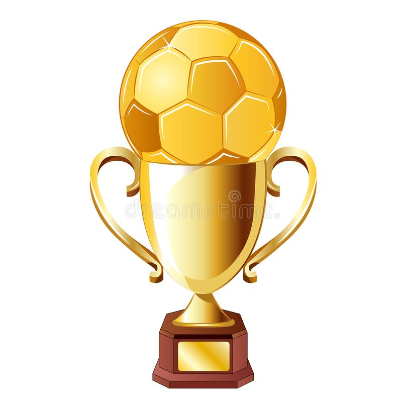 Fotboll för fotboll för vektorillustration guld- med koppen stock illustrationer