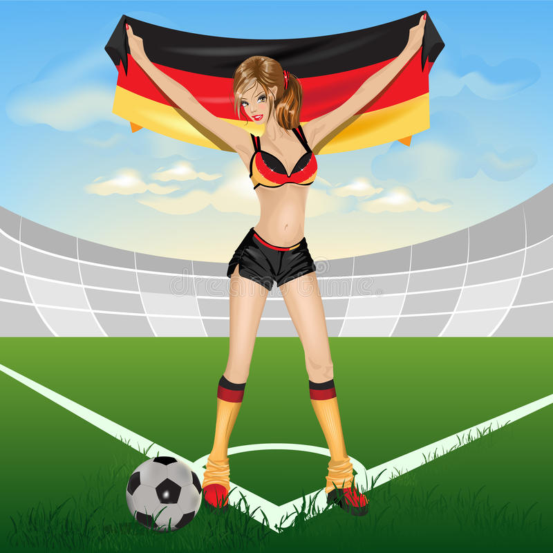 fotboll för ventilatorgermany flicka stock illustrationer