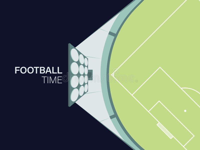 Fotboll-/fotbollbakgrund med stadionbelysning Upplyst fält med Tid för inskrift`-fotboll `, stock illustrationer