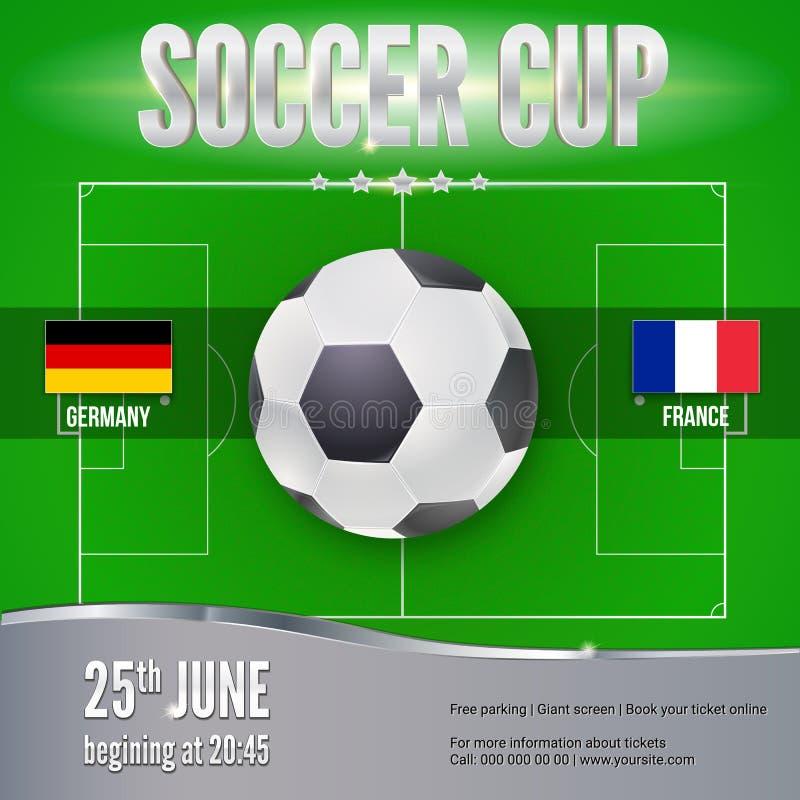 Fotboll fotbollbaner Mall för modig turnering royaltyfri illustrationer