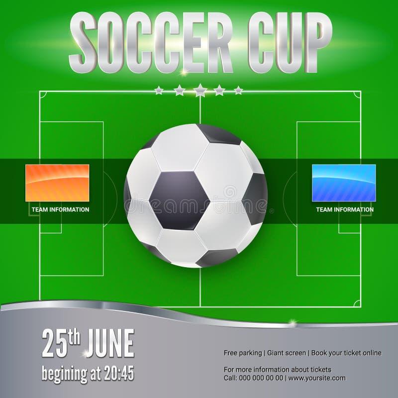 Fotboll fotbollbaner Mall för modig turnering Fotbollboll ovanför det gröna fältet, bästa sikt Sporthändelsedesign för stock illustrationer