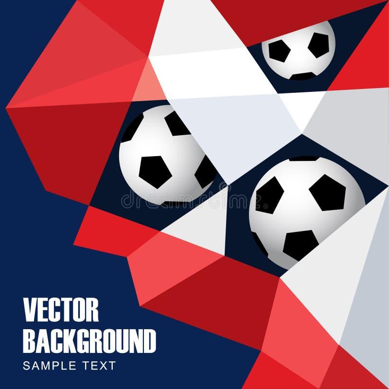 Fotboll fotbollbegrepp Modern polygonbakgrund i franska flaggafärger Utrustning för skydd av spelaren royaltyfri illustrationer
