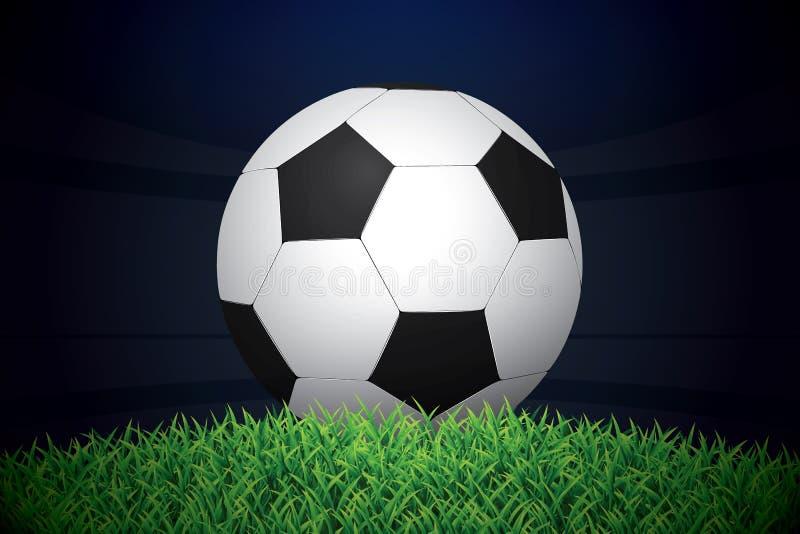 Fotboll-/fotbollboll på gräs på stadion också vektor för coreldrawillustration stock illustrationer
