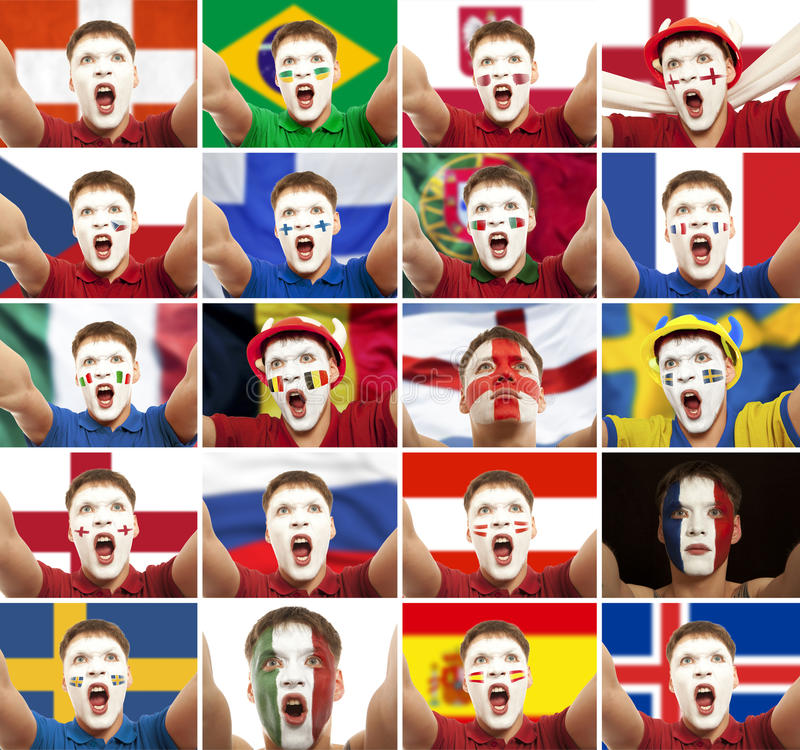 Fotboll fotbollfan royaltyfri bild