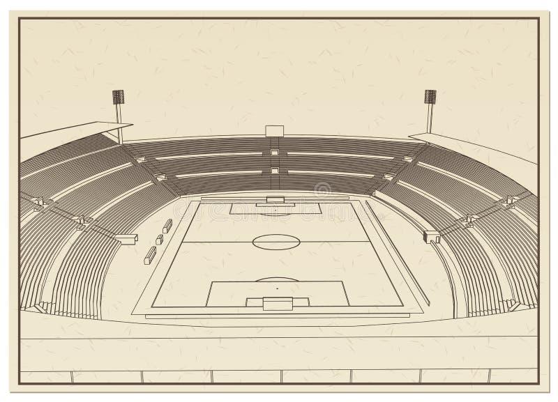 Fotboll - fotbollsarena stock illustrationer