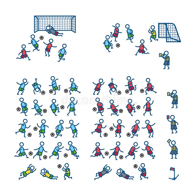 Fotboll fotbollspelare i handling poserar sätta på land tidskriften för färgflickaillustrationen som läser den sandiga vektorn Sy stock illustrationer