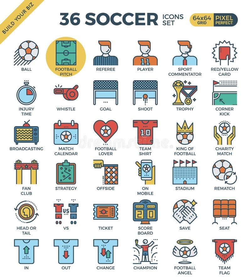 Fotboll-/fotbollsymboler royaltyfri illustrationer