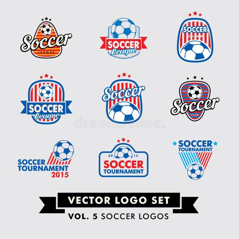 Fotboll fotbollvektor Logo Set vektor illustrationer
