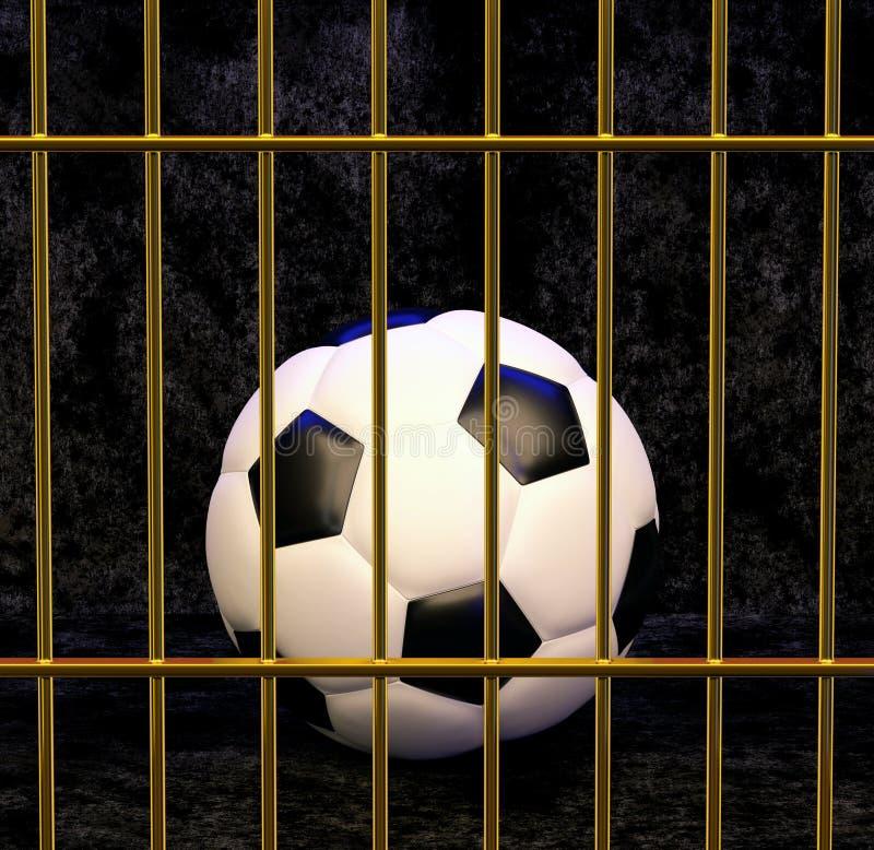 Fotboll i den förgyllda buren, illustration 3d royaltyfri illustrationer