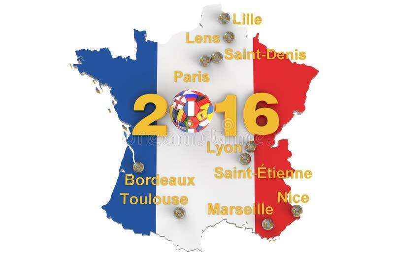 Fotboll i det Frankrike begreppet 2016 stock illustrationer