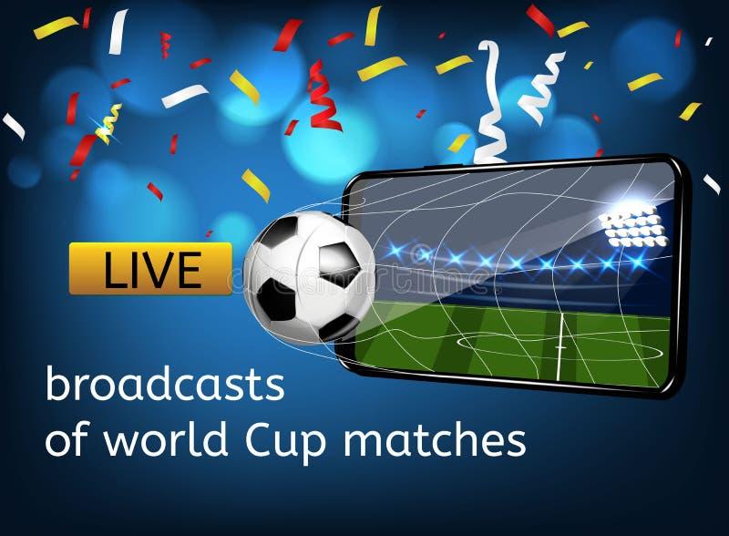 Fotboll i porten i form av en mobil Klockan sänder direktanslutet av världscupen stock illustrationer