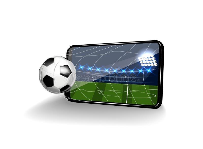 Fotboll i porten i form av en mobil på en vit bakgrund vektor illustrationer
