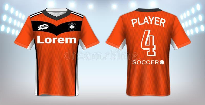 Fotboll Jersey och mall för sportT-tröjamodell, realistisk framdel för grafisk design och baksidasikt för fotboll Kit Uniforms vektor illustrationer