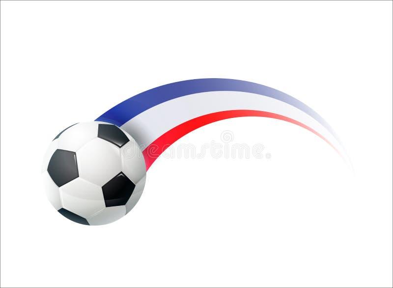 Fotboll med den färgrika slingan för fransk nationsflagga Vektorillustrationdesign för fotbollfotbollmästerskap, turneringar vektor illustrationer