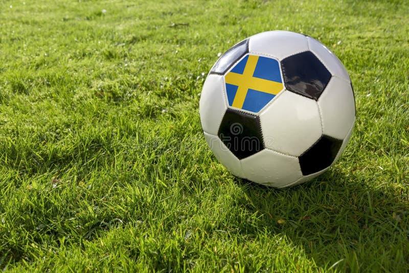 Fotboll med flaggan royaltyfri fotografi