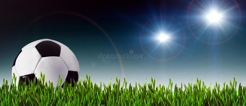 Fotboll- och fotbollbaner royaltyfri fotografi